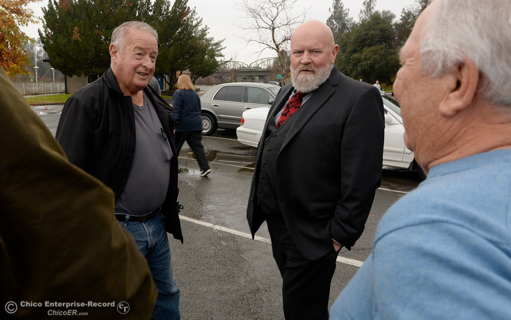 ". Left to right, Don Blake, Bill Connelly and Larry Grundmann talk about DWR and FERC as a group of local activists gather in the parking lot near the Feather River Fish Hatchery Fish Barrier Dam to anounce a petition called ""Hold DWR Accountable\"" in Oroville, Calif. Friday Jan. 5, 2018.  (Bill Husa -- Enterprise-Record)"