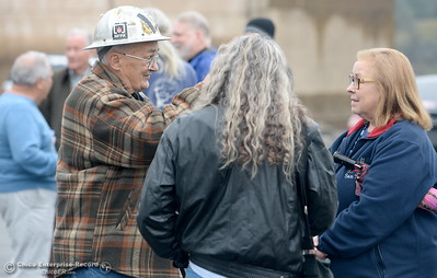 "At left Tom Kelly talks with Liza West of Oroville as a group of local activists gather in the parking lot near the Feather River Fish Hatchery Fish Barrier Dam to anounce a petition called ""Hold DWR Accountable"" in Oroville, Calif. Friday Jan. 5, 2018.  (Bill Husa -- Enterprise-Record)"