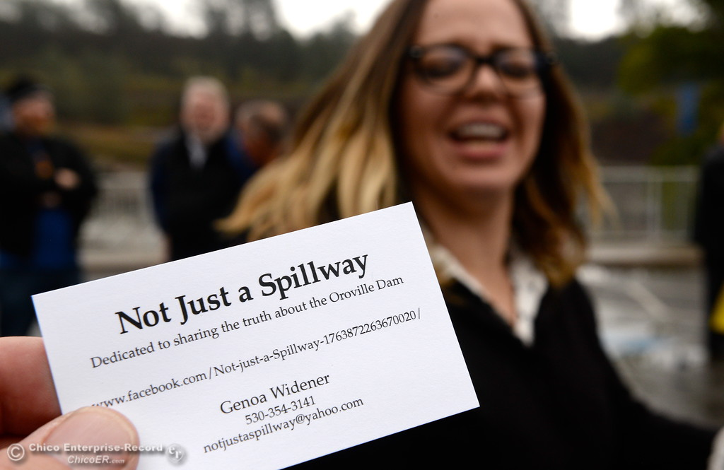 ". Genoa Widener, Founder of the ""Not Just A Spillway\"" page on Facebook talk with a group of local activists gathered in the parking lot near the Feather River Fish Hatchery Fish Barrier Dam to anounce a petition called \""Hold DWR Accountable\"" in Oroville, Calif. Friday Jan. 5, 2018.  (Bill Husa -- Enterprise-Record)"