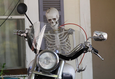 A motorcycle riding skeleton tears through downtown Oroville as Halloween approaches and the town gets a bit spooky October 11, 2016 in Oroville, California. (Emily Bertolino -- Mercury Register)