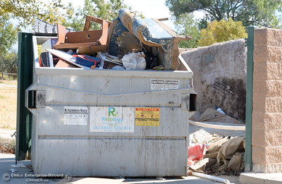 A dumpster overflows with trash at Riverbend Park in Oroville, Calif. Friday Sept. 22, 2017. (Bill Husa -- Enterprise-Record)