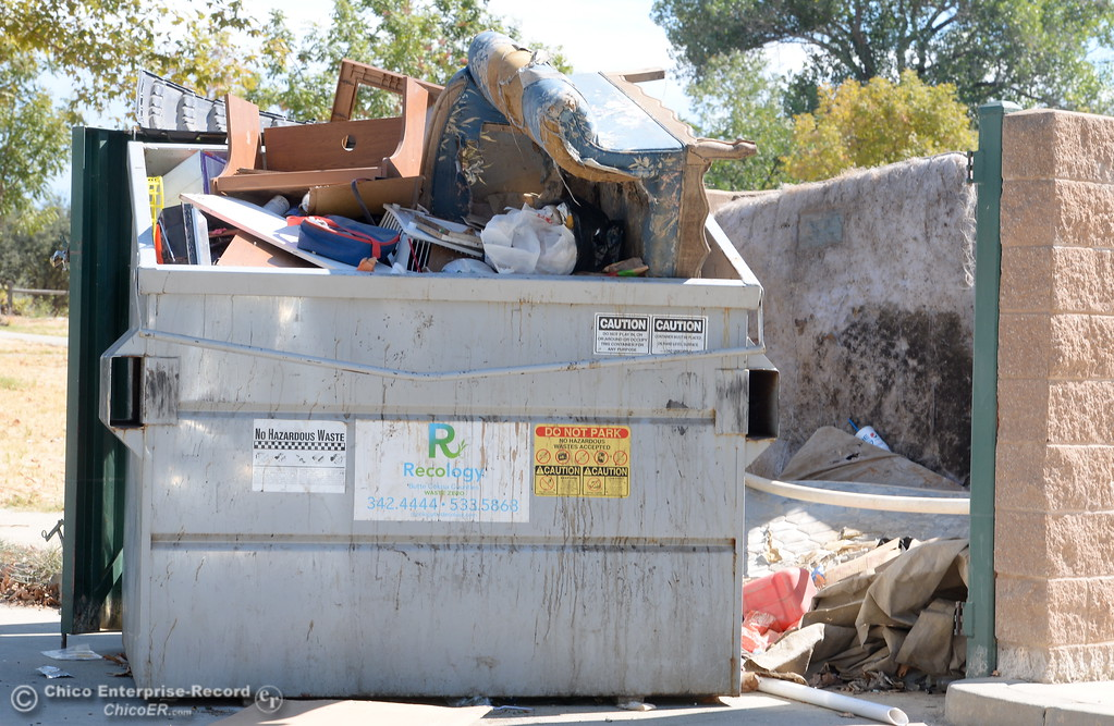 . A dumpster overflows with trash at Riverbend Park in Oroville, Calif. Friday Sept. 22, 2017. (Bill Husa -- Enterprise-Record)