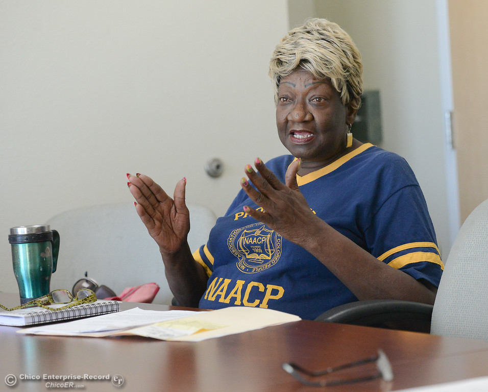 . Irma Jordan, president of NAACP talk about a racial discrimination lawsuit set forth by a former Butte County Sheriff against the Sheriff\'s department Thursday September 28, 2017 at the Southside Community Center in Oroville, California. (Emily Bertolino -- Mercury-Register)