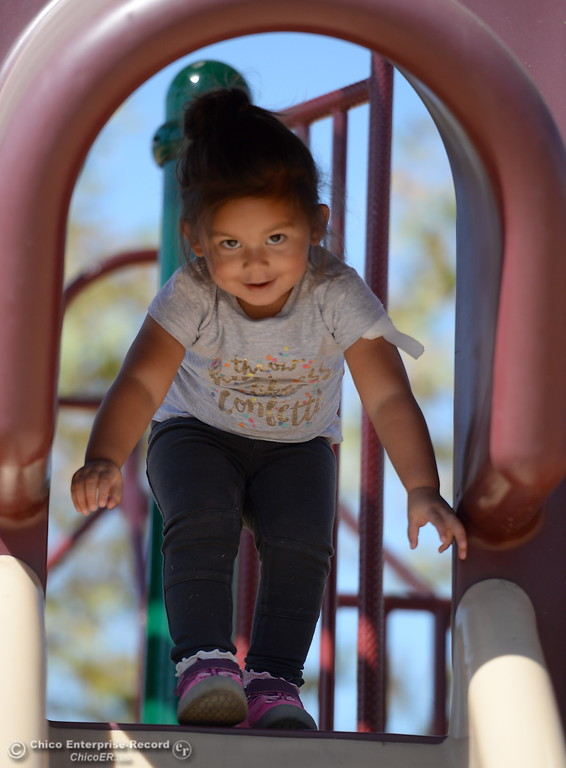 . 2-year-old Nique Sabala plays on the playground at Riverbend Park in Oroville, Calif. Friday Sept. 22, 2017. (Bill Husa -- Enterprise-Record)