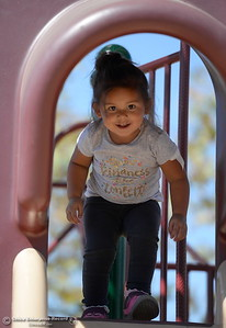 2-year-old Nique Sabala plays on the playground at Riverbend Park in Oroville, Calif. Friday Sept. 22, 2017. (Bill Husa -- Enterprise-Record)