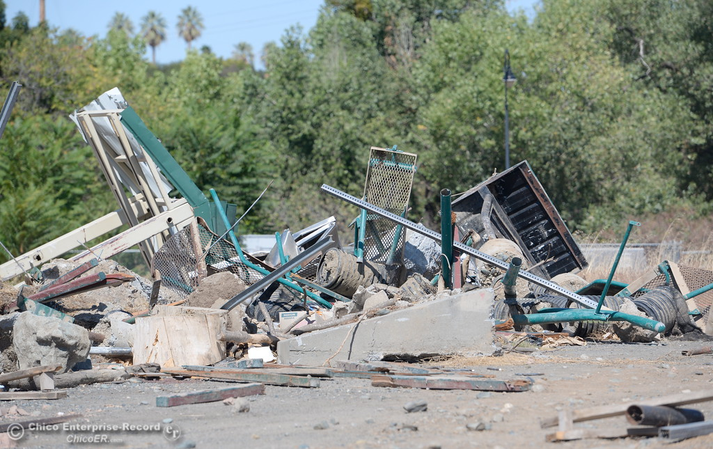 . A pile of debris from the flooding at Riverbend Park remains in an upper parking lot area in Oroville, Calif. Friday Sept. 22, 2017. (Bill Husa -- Enterprise-Record)