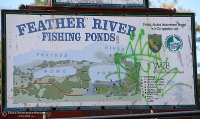 The sign has been vandalized at Riverbend Park in Oroville, Calif. Friday Sept. 22, 2017. (Bill Husa -- Enterprise-Record)