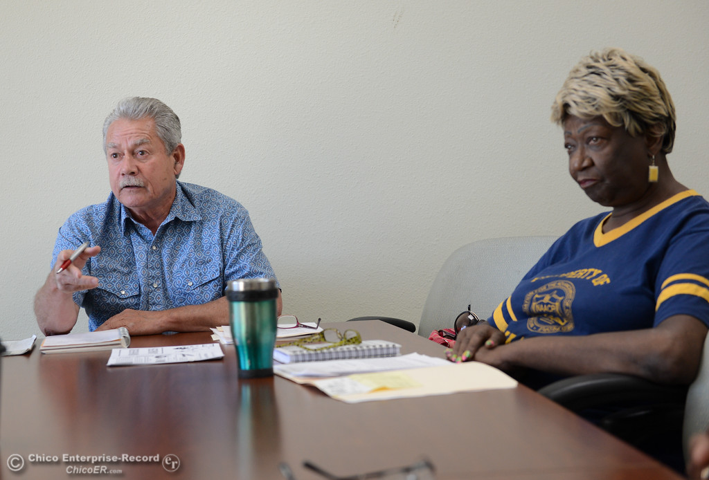 . Pastor Kevin Thompson and Irma Jordan, president of NAACP talk about a racial discrimination lawsuit set forth by a former Butte County Sheriff against the Sheriff\'s department Thursday September 28, 2017 at the Southside Community Center in Oroville, California. (Emily Bertolino -- Mercury-Register)