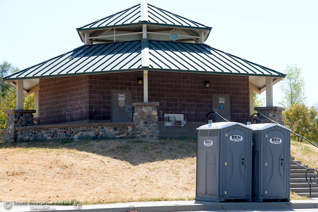 . Portable toilets sit near the closed facilities at Riverbend Park in Oroville, Calif. Friday Sept. 22, 2017. (Bill Husa -- Enterprise-Record)