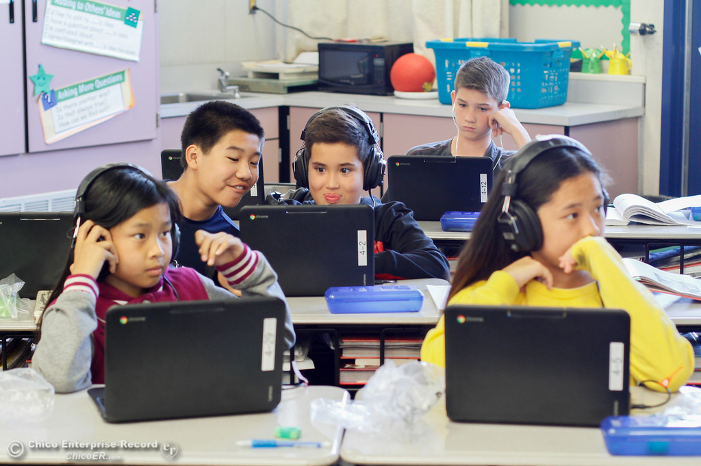 . Sixth graders at Central Middle School use their Chromebooks to learn about history September 26, 2017 in Oroville, California. This is the first year sixth graders have been integrated into the middle school.