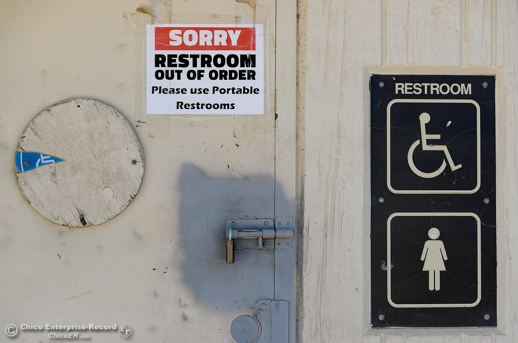 . Restrooms remain closed at Riverbend Park in Oroville, Calif. Friday Sept. 22, 2017. (Bill Husa -- Enterprise-Record)