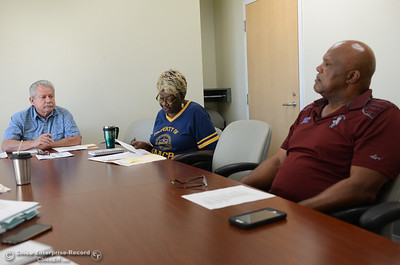 Pastor Kevin Thompson, Irma Jordan, president of NAACP and Bill Bynum, vice president of Butte County NAACP talk about a racial discrimination lawsuit set forth by a former Butte County Sheriff against the Sheriff's department Thursday September 28, 2017 at the Southside Community Center in Oroville, California. (Emily Bertolino -- Mercury-Register)