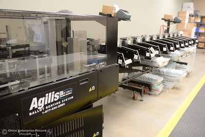 Butte County Clerk Recorder Candace Grubbs said this $220,000 machine helps keep ballots organized during the election process at the Butte County Hall of Records in Oroville, Calif. Monday Oct. 24, 2016. (Bill Husa -- Enterprise-Record)