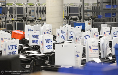 Voting supplies for the upcoming election are seen at the Butte County Hall of Records in Oroville, Calif. Monday Oct. 24, 2016. (Bill Husa -- Enterprise-Record)