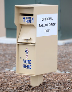 An official Ballot Drop Box is seen outside of the Butte County Hall of Records in Oroville, Calif. Monday Oct. 24, 2016. (Bill Husa -- Enterprise-Record)