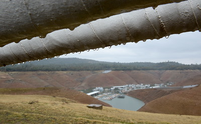 Raindrops cling to the Bidwell Bar Suspension Bridge high above Lake Oroville, Calif. Wednesday Nov. 15, 2017. (Bill Husa -- Enterprise-Record)