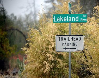 A trailihead parking sign is seen enroute to the Lakeland Blvd. trailhead which is currently open in  Oroville, Calif. Wednesday Nov. 15, 2017. (Bill Husa -- Enterprise-Record)