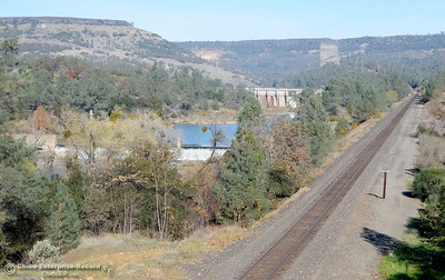 The railroads tracks and Big O are seen above the Nature Center which remains closed to the public in Oroville, Calif. Wed. Nov. 29, 2017. (Bill Husa -- Enterprise-Record)