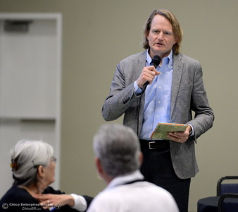 Lunberg Farms CEO Grant Lundberg speaks to Assembleyman James Gallagher and other legislators as they eat lunch and discuss the Lake Oroville Dam and spillway incident and current situation during a gathering at the Southside Community Center in Oroville, Calif. Thurs. Feb. 15, 2018. Lundberg explained how he and those at Lundberg Farms reacted during the evacuation last February. (Bill Husa -- Enterprise-Record)