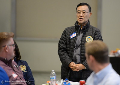 Assembley Member Steven Choi and other legislators eat lunch and discuss the Lake Oroville Dam and spillway incident and current situation during a gathering at the Southside Community Center in Oroville, Calif. Thurs. Feb. 15, 2018. (Bill Husa -- Enterprise-Record)