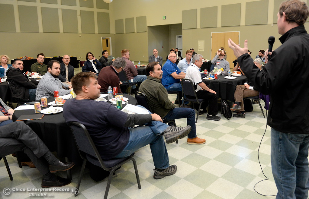. Assembleyman James Gallagher and other legislators eat lunch and discuss the Lake Oroville Dam and spillway incident and current situation during a gathering at the Southside Community Center in Oroville, Calif. Thurs. Feb. 15, 2018. (Bill Husa -- Enterprise-Record)