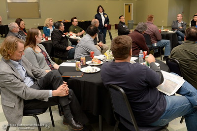 Assembleyman James Gallagher and other legislators eat lunch and discuss the Lake Oroville Dam and spillway incident and current situation during a gathering at the Southside Community Center in Oroville, Calif. Thurs. Feb. 15, 2018. (Bill Husa -- Enterprise-Record)