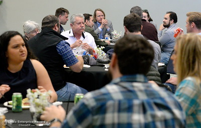 Local business leaders meet with assembleyman James Gallagher and other legislators as they eat lunch and discuss the Lake Oroville Dam and spillway incident and current situation during a gathering at the Southside Community Center in Oroville, Calif. Thurs. Feb. 15, 2018. (Bill Husa -- Enterprise-Record)