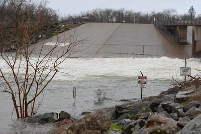 Increased water flows create high water seen at the Afterbay Outlet in Oroville, Calif. Friday Feb. 3, 2017. (Bill Husa -- Enterprise-Record)