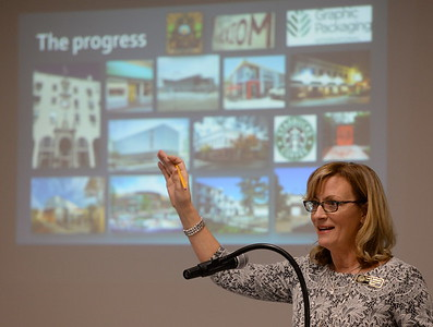Oroville Mayor Linda Dahlmeier asks who in the room ever thought they would see the Oroville Inn back open as she talks about the City of Oroville's progress during the State of the City meeting at Table Mountain Golf Course in Oroville, Calif. Friday Feb. 3, 2017. (Bill Husa -- Enterprise-Record)