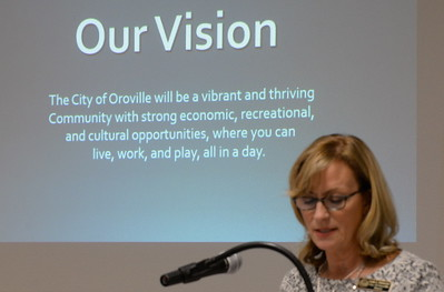 Oroville Mayor Linda Dahlmeier talks about the City of Oroville's progress during the State of the City meeting at Table Mountain Golf Course in Oroville, Calif. Friday Feb. 3, 2017. (Bill Husa -- Enterprise-Record)