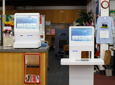 The Oroville Branch has two new self checkout systems for patrons to use February 2, 2017 in Oroville, California. (Emily Bertolino -- Enterprise-Record)