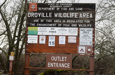 A sign is seen at the Oroville Wildlife Area Outlet Entrance  Friday Feb. 3, 2017. (Bill Husa -- Enterprise-Record)