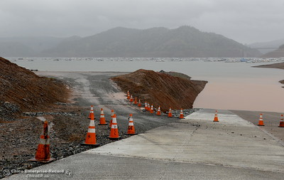 Access to a launch facility remains open despite road construction on the main launch ramp at Bidwell Canyon Marina in Oroville, Calif. Thurs. March 15, 2018. (Bill Husa -- Enterprise-Record)
