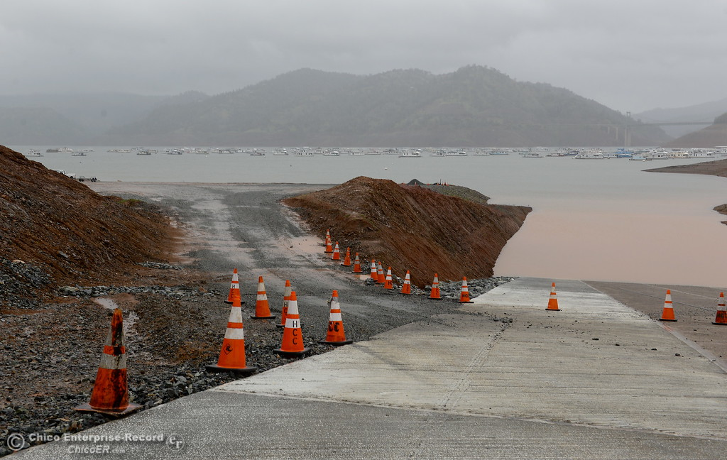 . Access to a launch facility remains open despite road construction on the main launch ramp at Bidwell Canyon Marina in Oroville, Calif. Thurs. March 15, 2018. (Bill Husa -- Enterprise-Record)
