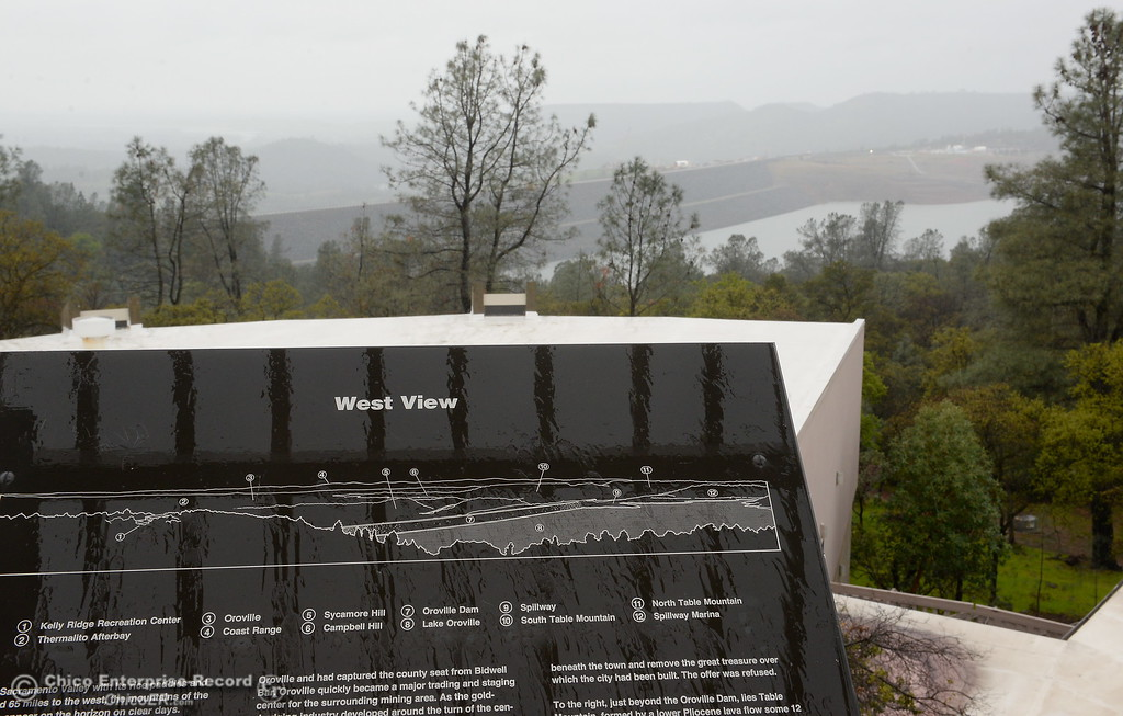. The Lake Oroville Dam is seen from the Oroville Visitors Center viewing platform in Oroville, Calif. Thurs. March 15, 2018. (Bill Husa -- Enterprise-Record)