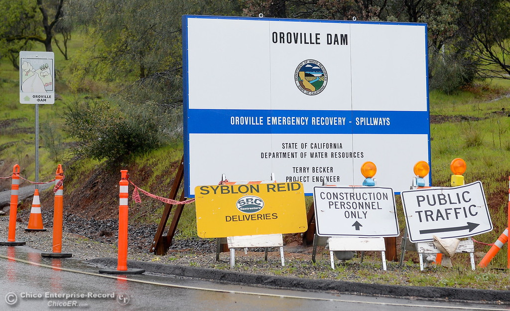 . A sign is seen at the Canyon Drive road closure naming Terry Becker Project Engineer as construction continues on and around Oroville Dam, Oroville Emergency Recovery Spillway area Wednesday March 21, 2018.  (Bill Husa -- Enterprise-Record)