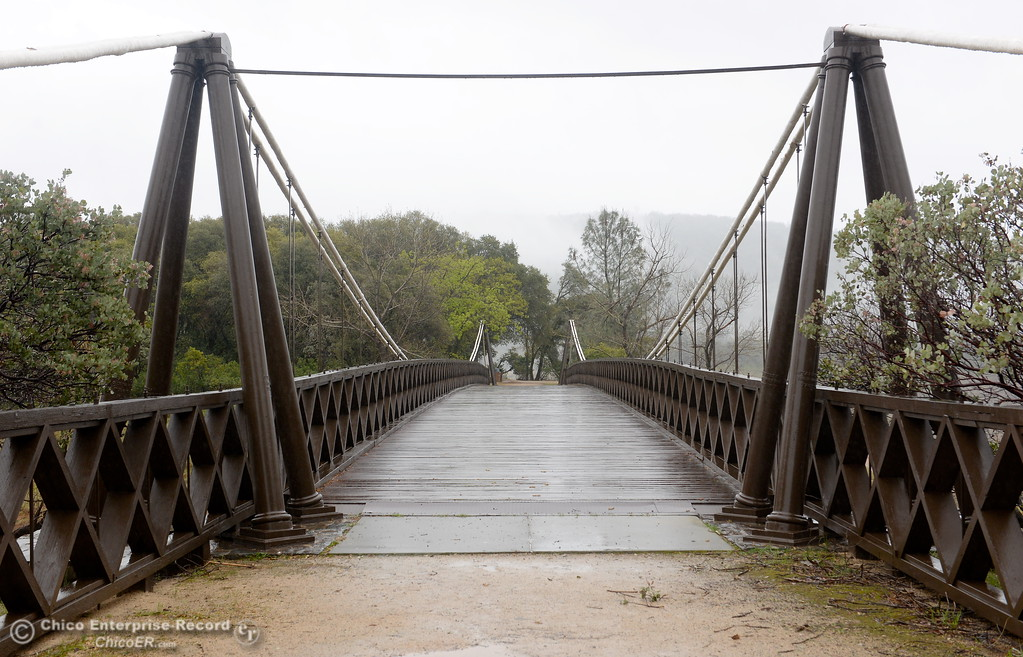 . The Bidwell Bar Bridge as rain pours around Butte County Calif. Wednesday March 21, 2018.  (Bill Husa -- Enterprise-Record)