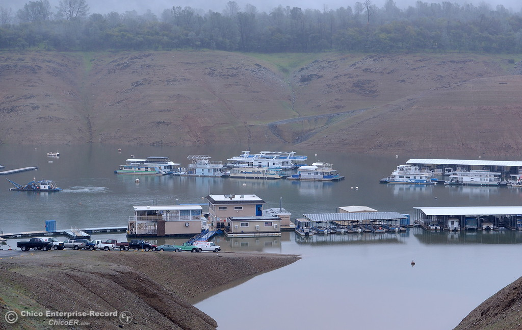 . Bidwell Canyon Marina is seen as rain pours around Butte County Calif. Wednesday March 21, 2018.  (Bill Husa -- Enterprise-Record)