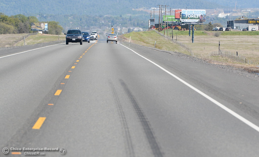 . A stretch of northbound Highway 70 is seen with skidmarks south of Oroville, Calif. Fri. March 23. The highway has claimed many lives over the years and now millions of dollars have been granted for repairs. (Bill Husa -- Enterprise-Record)