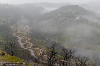 A road follows a canal while low clouds blanket the area beside Lake Oroville near the Nelson Bar Day use area as rain continues Wednesday March 21, 2018.  (Bill Husa -- Enterprise-Record)