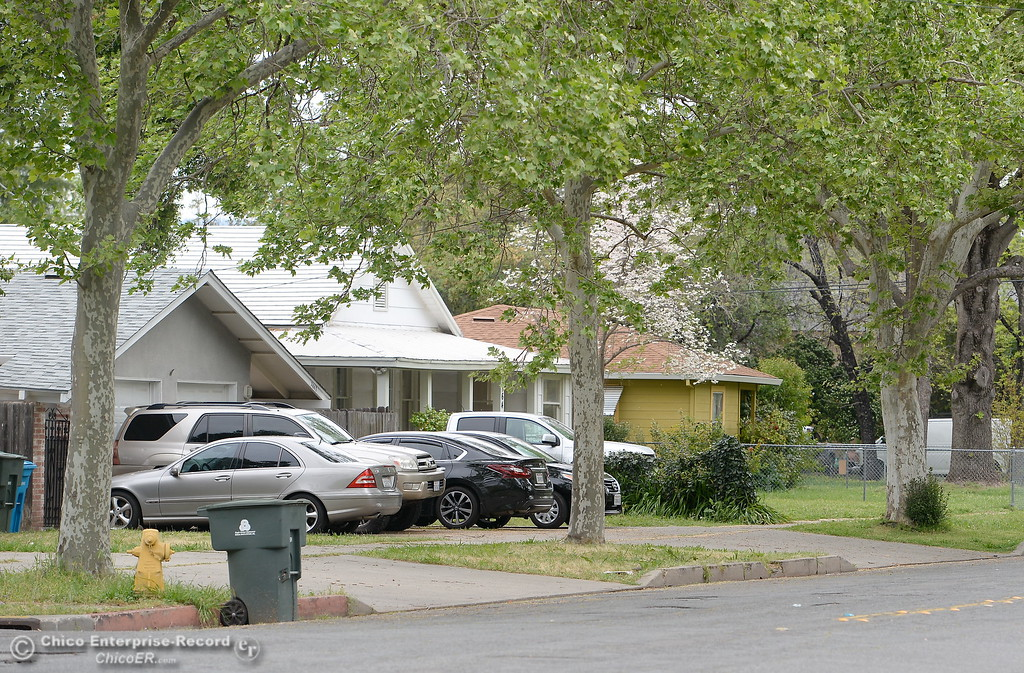 . A Pomona Ave. neighborhood where Larry Siordia was shot and killed by a Butte County Sheriff\'s Sgt. Saturday is seen in Oroville, Calif. Wed. April 11, 2018. (Bill Husa -- Enterprise-Record)