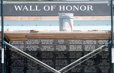 The Veterans Wall of Honor is taking shape although scaffolding remains in place Friday April 14, 2017.  (Bill Husa -- Enterprise-Record)