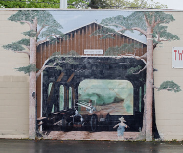Historic murals color the walls in downtown Oroville Tuesday April 11, 2017 in Oroville, California. (Emily Bertolino -- Mercury Register)