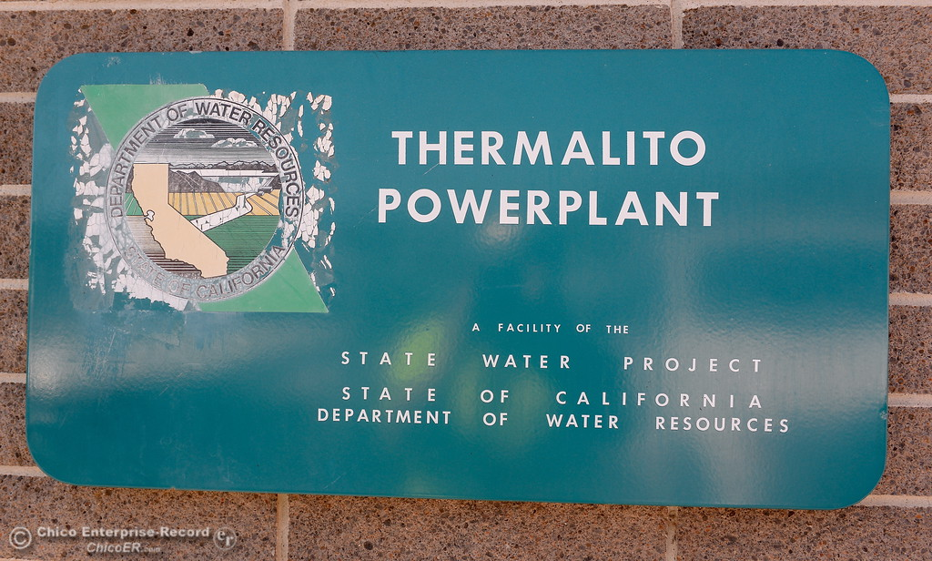 . An old sign is seen during a tour of the Thermalito Power Plant in Oroville, Calif. Wed. March 28, 2018.  (Bill Husa -- Enterprise-Record)