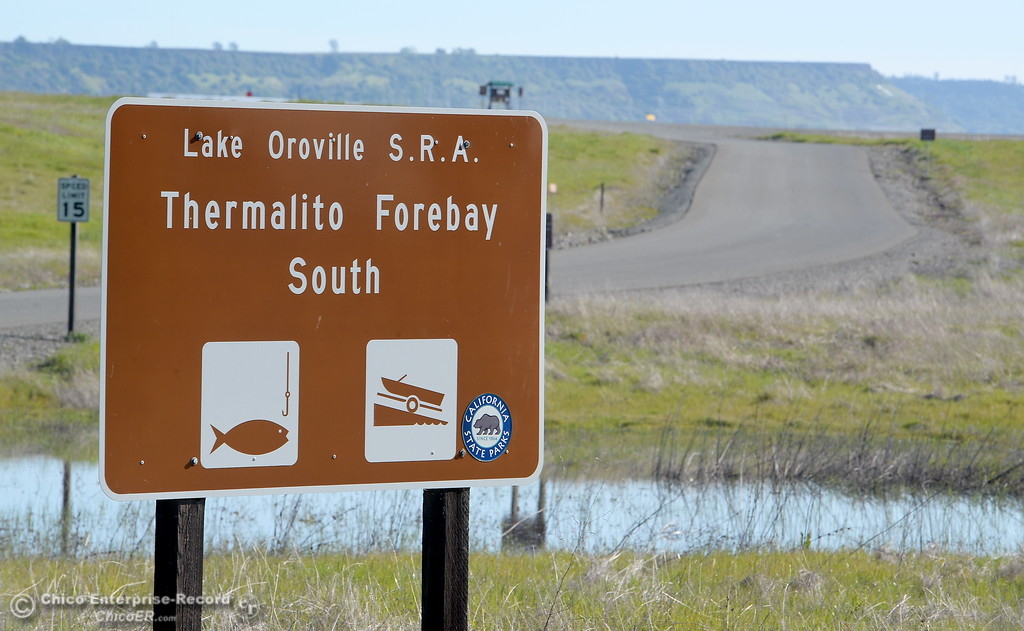 . A sign for the South Forebay recreation area is seen in Oroville, Calif. Wed. March 28, 2018.  (Bill Husa -- Enterprise-Record)