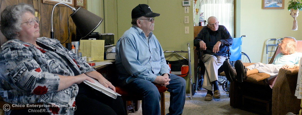 . Left to right Mary Lou berry, Al Simpson, Neal Tyrrell and Mary Tyrrell talk about their Neighborhood Watch progam at the home of Neal and Mary Tyrrell in Oroville, Calif. Wed. March 28, 2018.  (Bill Husa -- Enterprise-Record)