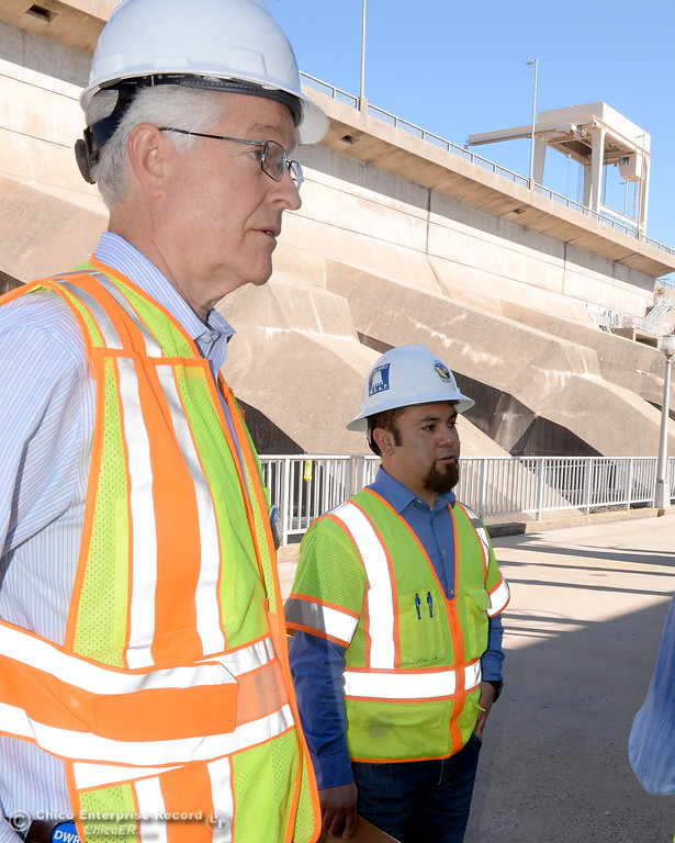 . Tony Meyers, project manager (overseeing restoration of Thermalito facilities) left and Armando Ortiz, assistant project manager (for Thermalito facilities) talk about work currently underway at the The Ronald R. Robie Thermalito Power Plant located in Oroville, Calif. Wed. March 28, 2018.  (Bill Husa -- Enterprise-Record)