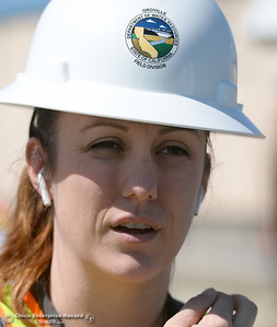 Erin Mellon, assistant director of public affairs for DWR speaks during a tour of the Thermalito Power Plant in Oroville, Calif. Wed. March 28, 2018.  (Bill Husa -- Enterprise-Record)