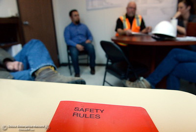Bryan Coulter, Thermalito site safety consultant goes over safety items prior to a tour of the Thermalito Power Plant in Oroville, Calif. Wed. March 28, 2018.  (Bill Husa -- Enterprise-Record)