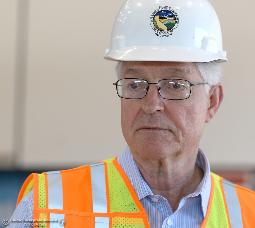 . Tony Meyers, project manager (overseeing restoration of Thermalito facilities) talks about work currently underway at the The Ronald R. Robie Thermalito Power Plant located in Oroville, Calif. Wed. March 28, 2018.  (Bill Husa -- Enterprise-Record)